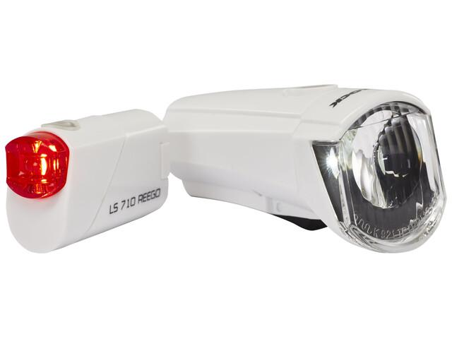Trelock LS350 I-go Sport + LS710 Reego Fietsverlichting sets wit